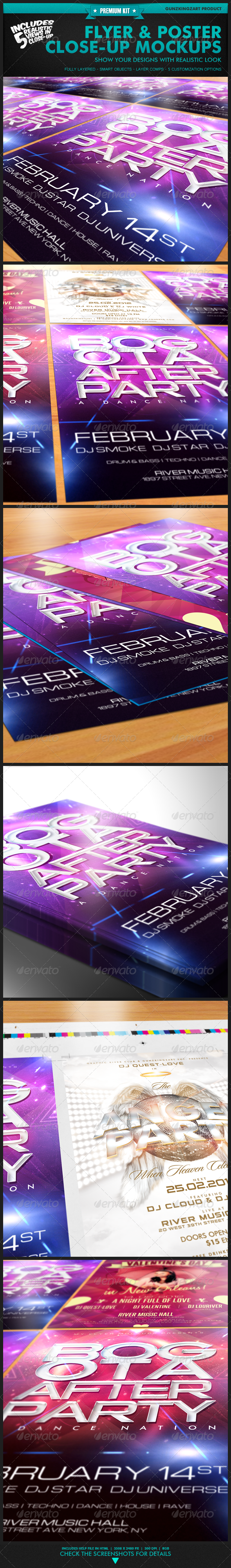 Graphic River Flyer & Poster Close-Up Mockups Premium Kit Graphics -  Product Mock-Ups 1495825