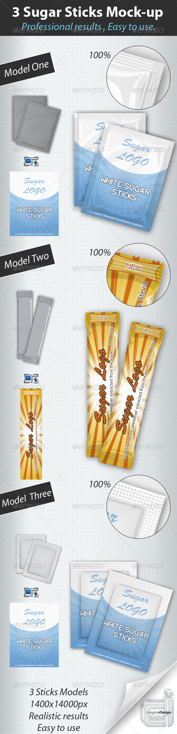 GraphicRiver Professional 3 Sugar Sticks Mock-up 409942