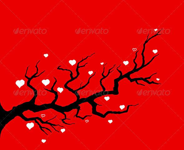 GraphicRiver Red Cherry Tree Illustration 1529347