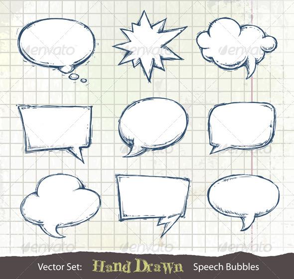 GraphicRiver Set of hand-drawn speech bubbles 180869