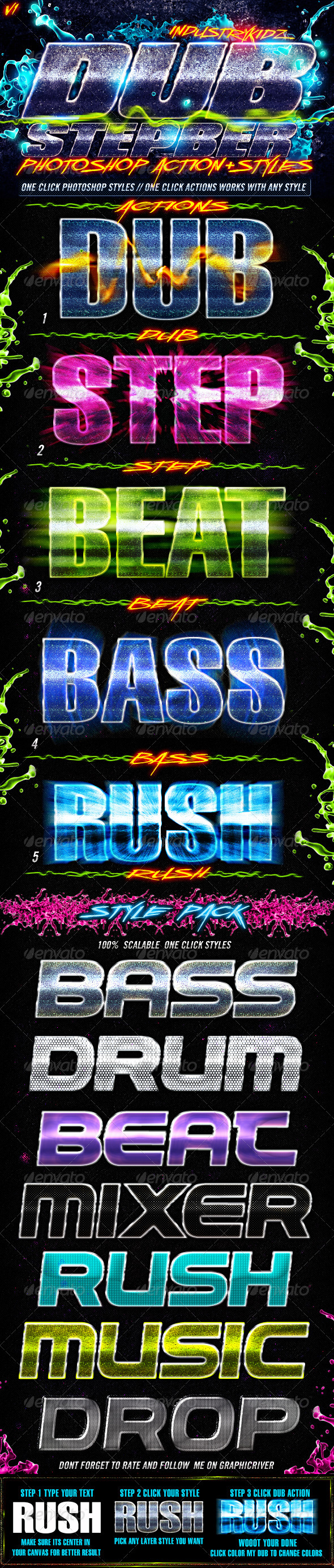 GraphicRiver Dubstep Photoshop Actions & Styles 1531320