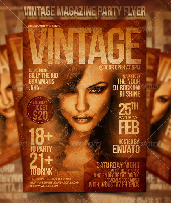 GraphicRiver Vintage Magazine Party Flyer 1535432