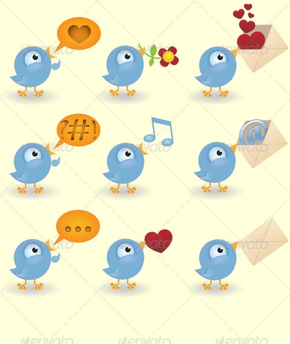 GraphicRiver Cartoon bird set 1537942