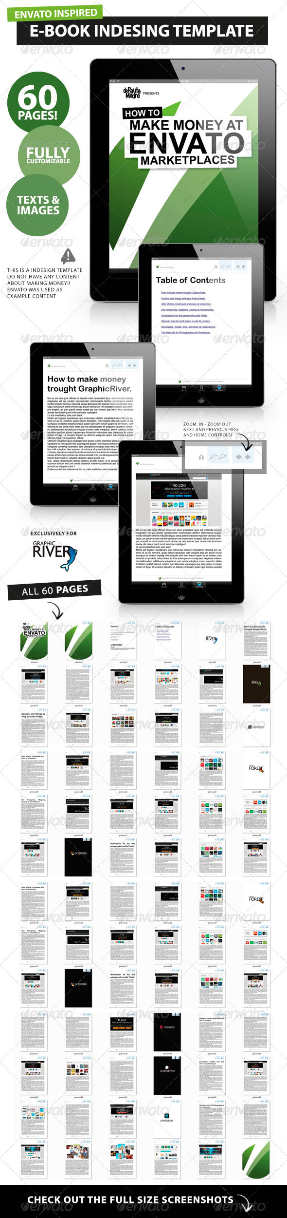 GraphicRiver 60 pages E-book Magazine Book Indesign Template 1524243
