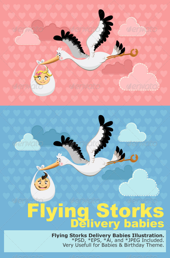 GraphicRiver Flying Stork Delivery Baby 1539460