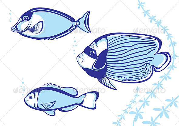 Graphic River Tropical Fish Vectors -  Characters  Animals 1540486