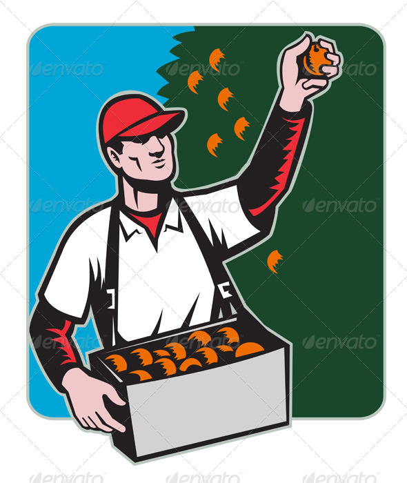 Graphic River Fruit Picker With Basket Retro Woodcut Vectors -  Characters  People 1541185