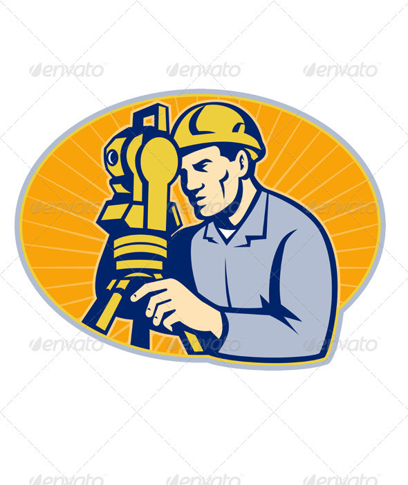 Graphic River Surveyor Engineer Theodolite Total Station Vectors -  Characters  People 1541209