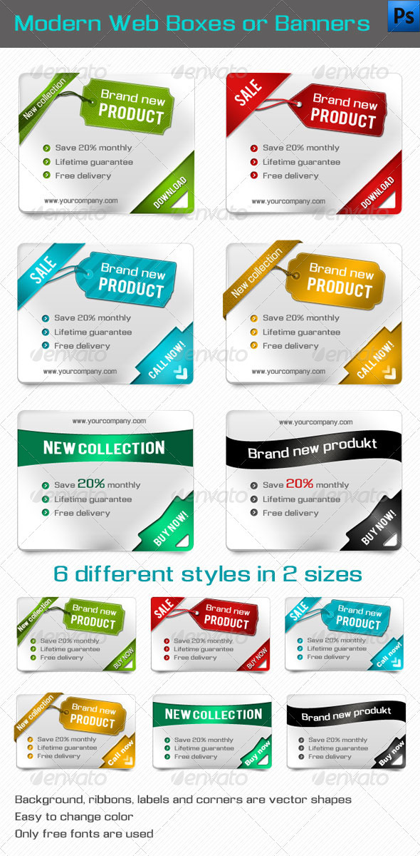 GraphicRiver Modern Web Boxes or Banners 1541213