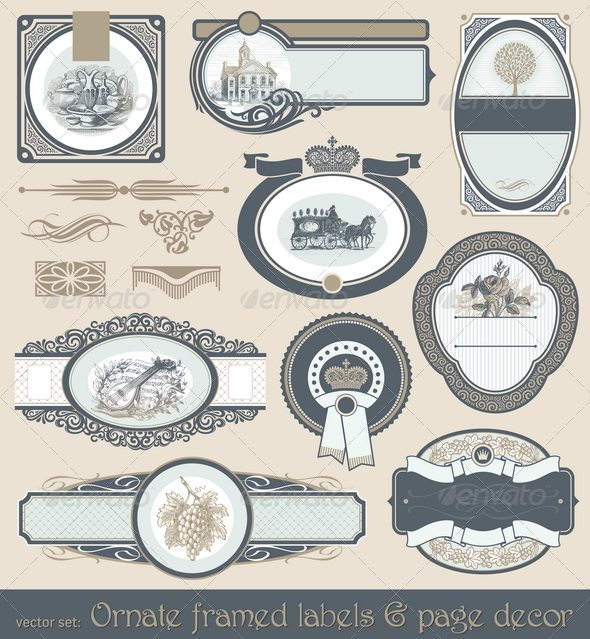 Graphic River Set of Vintage Framed Labels & Page Decor Vectors -  Decorative 1500761