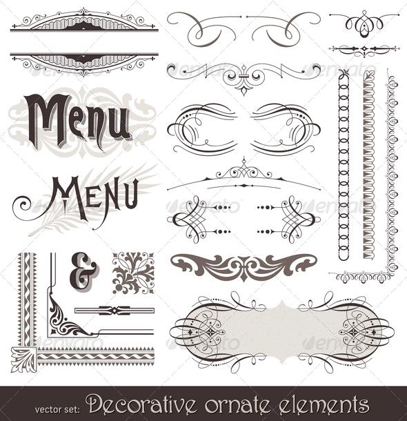 Graphic River Ornate Design Elements & Calligraphic Page Decor Vectors -  Decorative 1500755