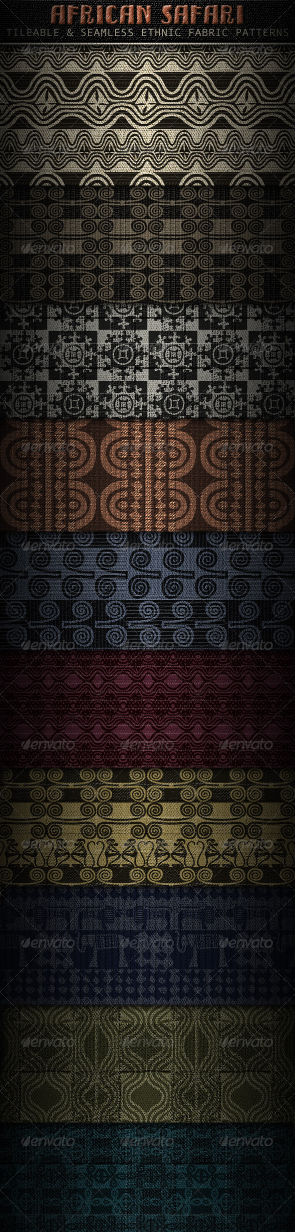 GraphicRiver Ethnic Fabric Patterns; Africa inspired 1543444