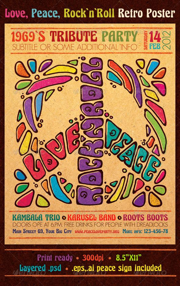GraphicRiver Love Peace Rock`n`Roll Retro Poster 1543478