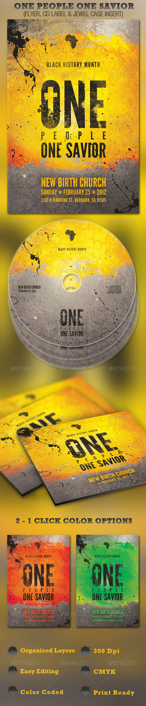 GraphicRiver One People One Savior Church Flyer and CD Template 1544980