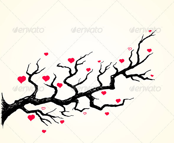 GraphicRiver Cherry Blossom and Hearts Illustration 1545625