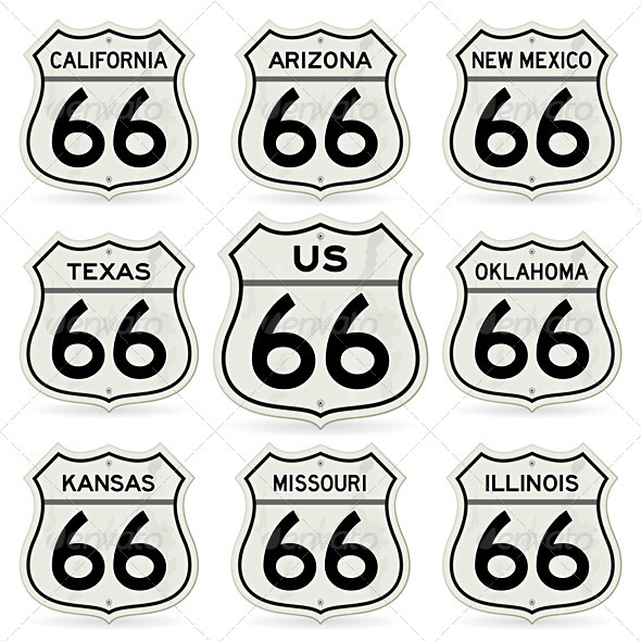 GraphicRiver Complete Route 66 Signs Collection 1547937