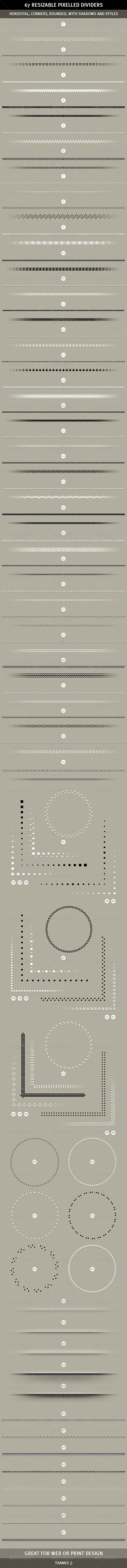 GraphicRiver 67 Pixelled Resizable Dividers 1553475