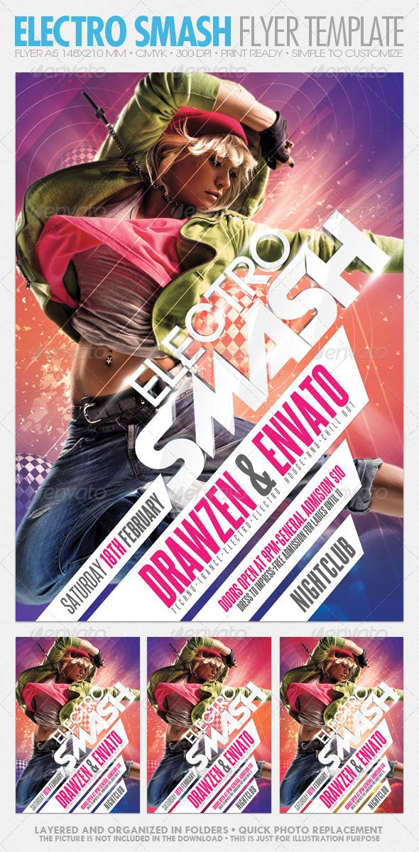 GraphicRiver Electro Smash Party Flyer 1554284