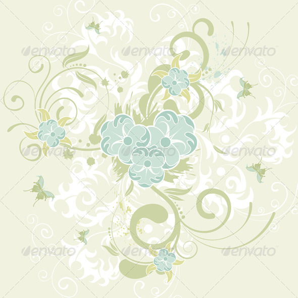Graphic River Flower background Vectors -  Decorative  Flourishes / Swirls 1555342