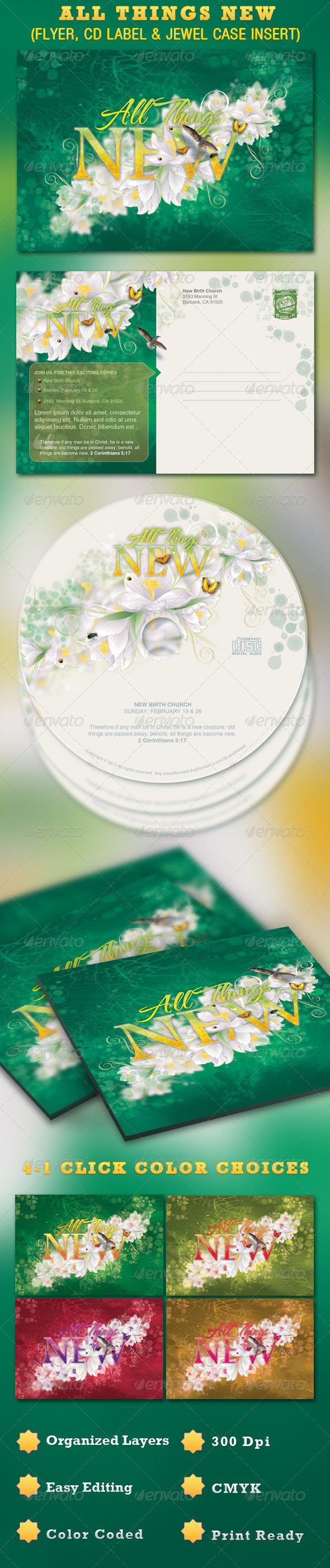 GraphicRiver All Things New Church Postcard and CD Template 1556144