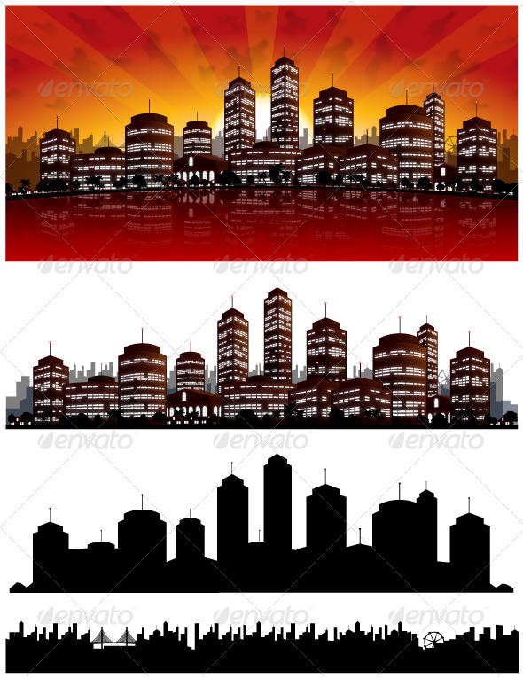 Graphic River Sunset City Vector Background Skyline Vectors -  Decorative  Backgrounds 1556965