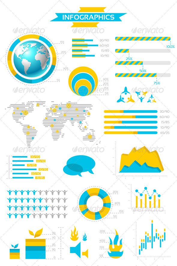 Graphic River Infographic Collection with Labels and Graphic  Vectors -  - 1558289