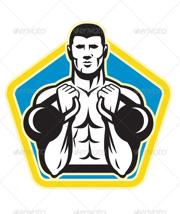 Graphic River Kettlebell Exercise Weight Training Retro Vectors -  Characters  People 1558362