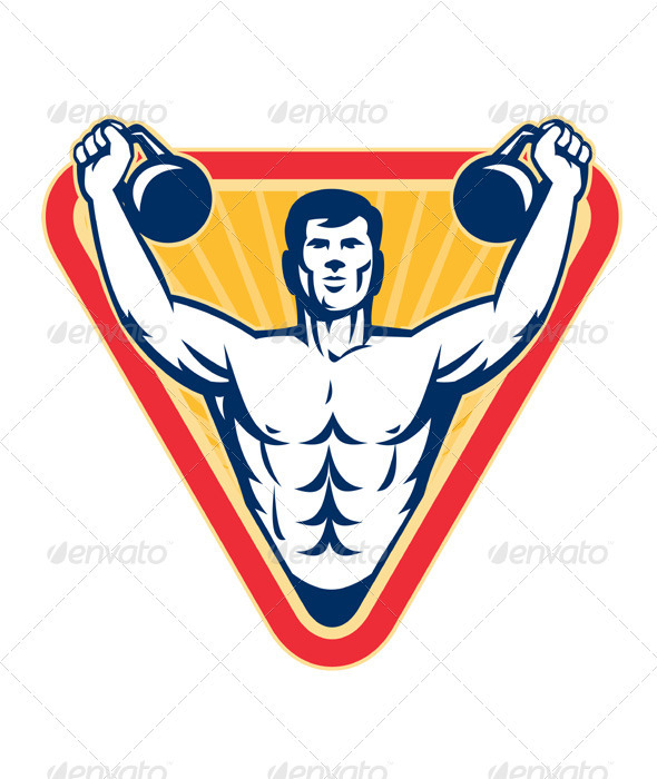 Graphic River Kettlebell Exercise Weight Training Retro Vectors -  Characters  People 1558385