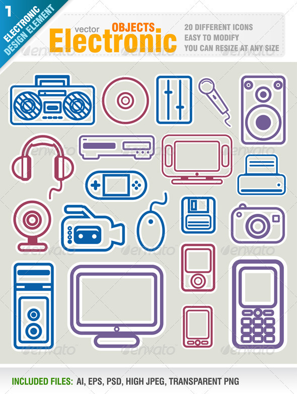 GraphicRiver Electronic Object Icons 1562710