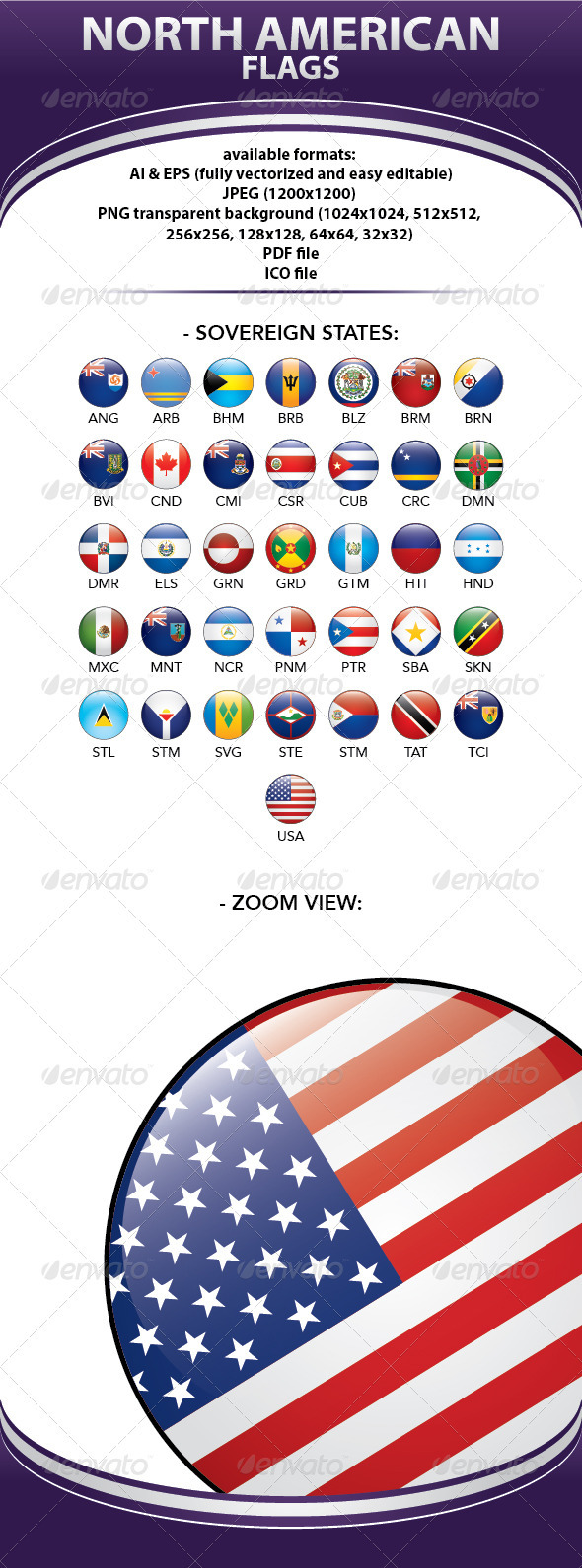 GraphicRiver All North American Flags 1564675