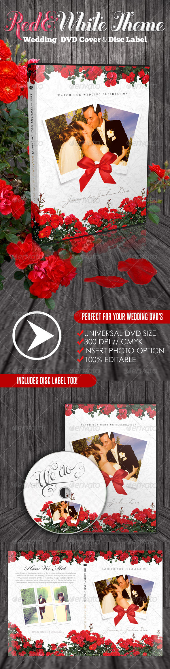 GraphicRiver Red & White Theme Wedding DVD & Disc Label 1566900