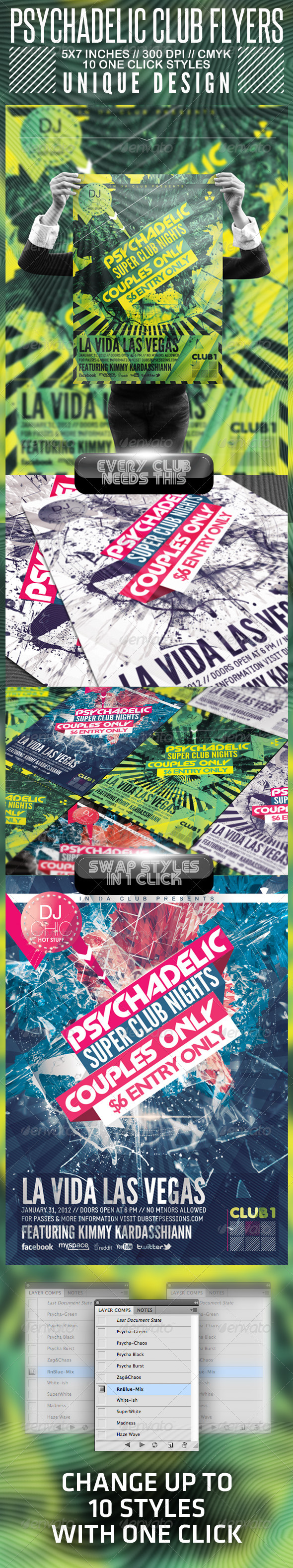 GraphicRiver Psychedelic Club Flyer 1550365