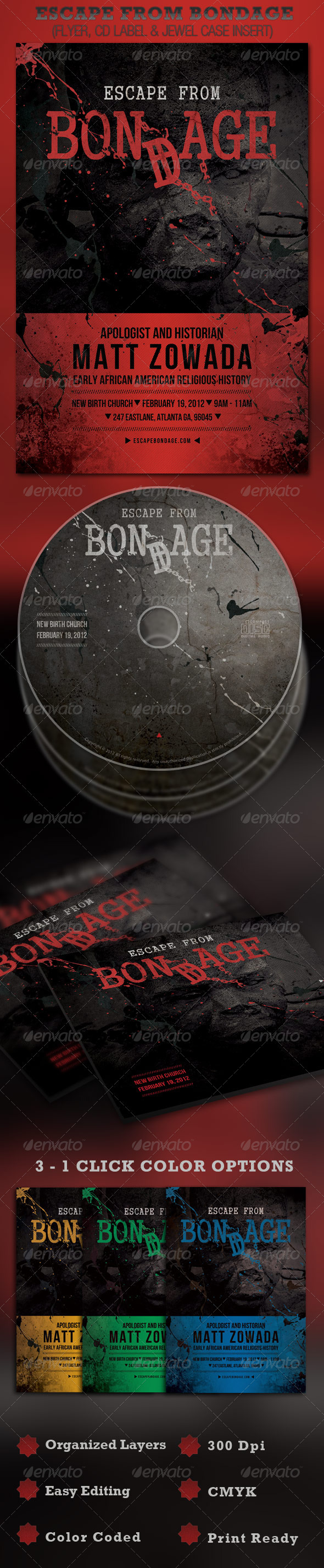 GraphicRiver Escape from Bondage Church Flyer and CD 1569007