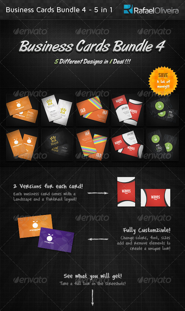 GraphicRiver Business Cards Bundle 4 5 in 1 1571491