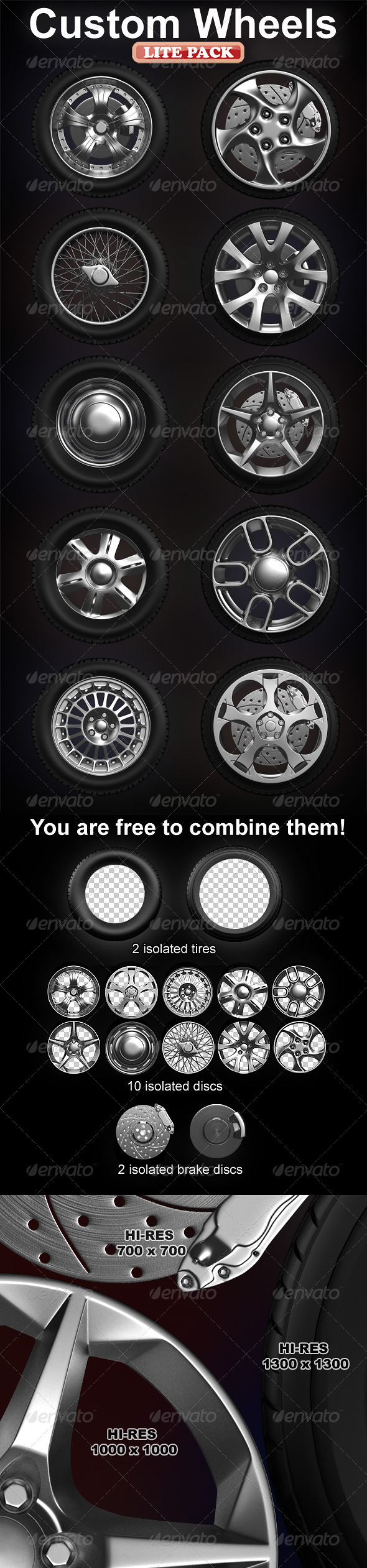 GraphicRiver Isolated custom wheels pack 2 tires 10 discs 1573951