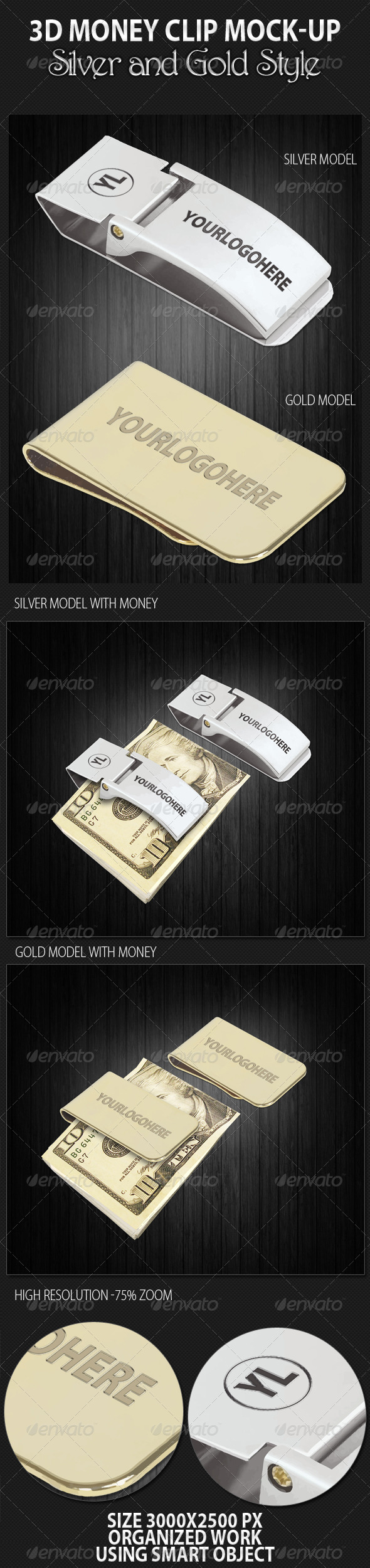 Graphic River 3D Money Clip Mock-up Graphics -  Product Mock-Ups  Miscellaneous 1044670