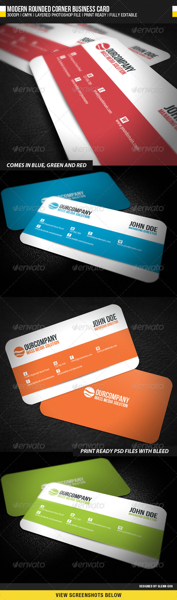 GraphicRiver Modern Rounded Corner Business Card 1574902