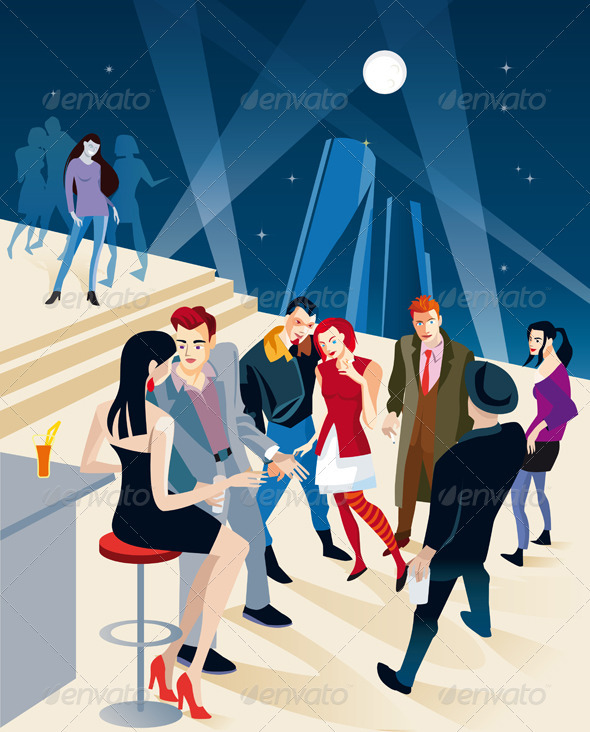 GraphicRiver Boys and Girls Couples In A Party 1574914