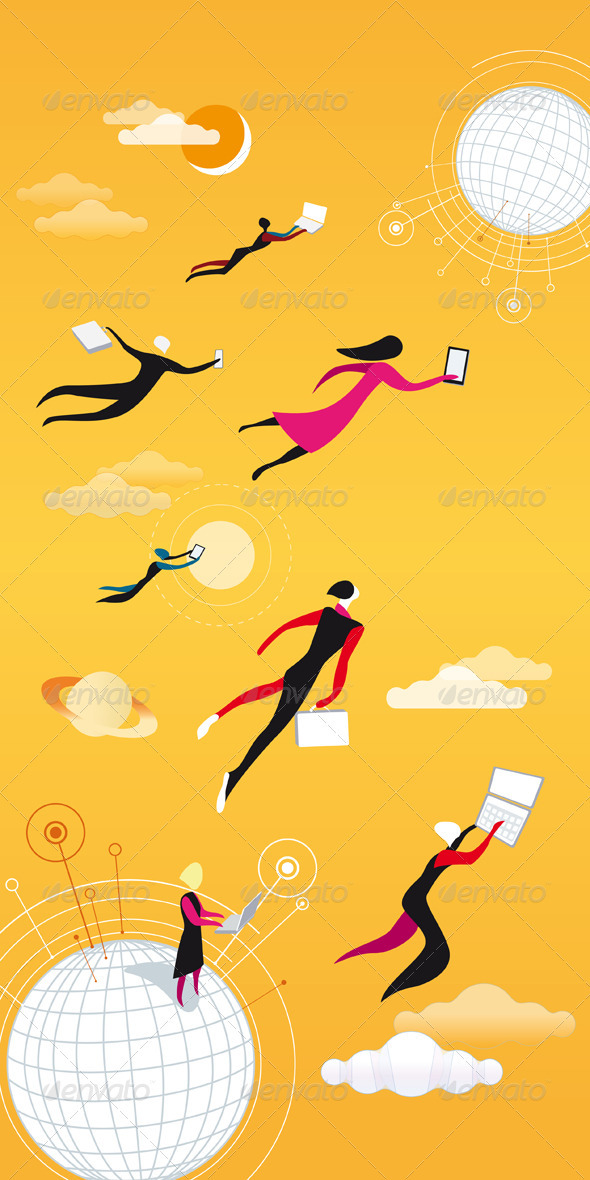 GraphicRiver Cloud Computing Orange 1575201