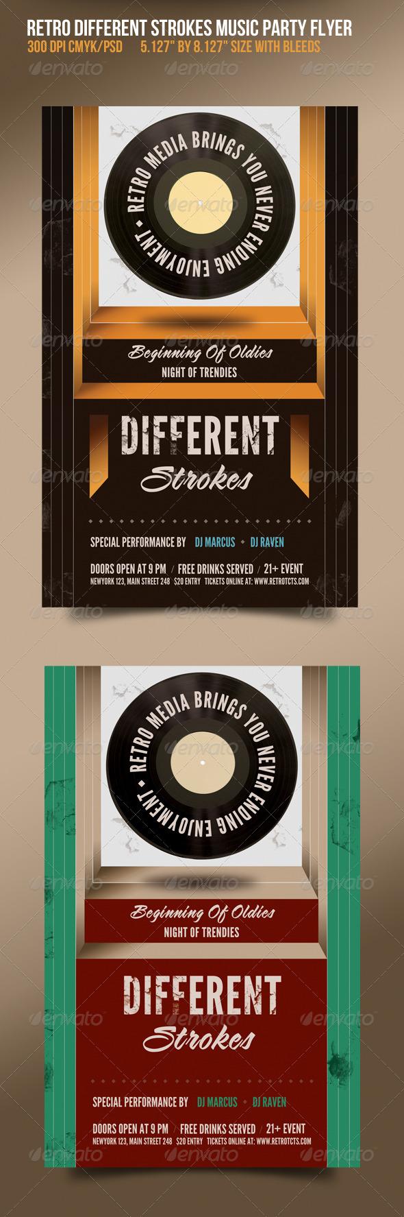 GraphicRiver Different Strokes Retro Music Dance Party Flyer 1575659