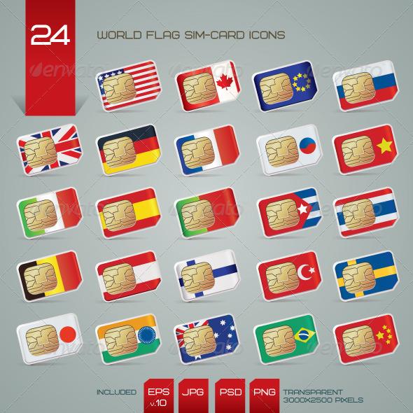 GraphicRiver World Flag SIM Cards Icons Set 1578331