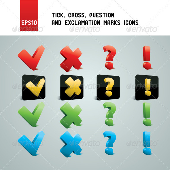 GraphicRiver Tick Cross Question and Exclamation Marks 1578775