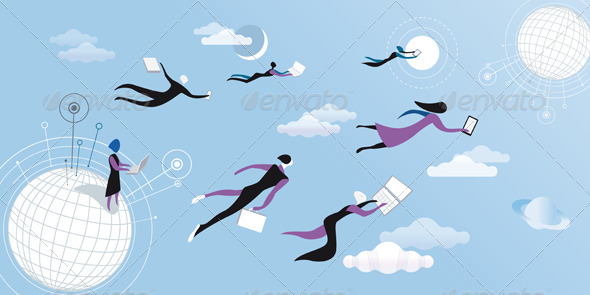 GraphicRiver Cloud Computing Blue 1564413