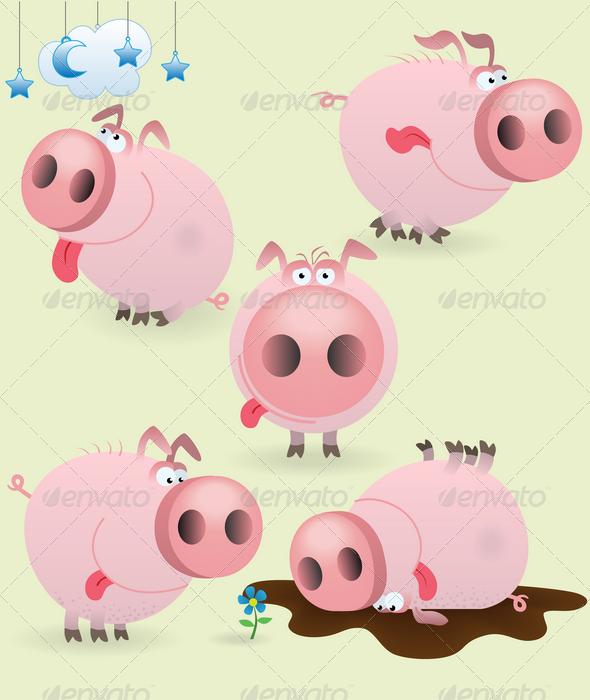 GraphicRiver Funny little pig set 1580855
