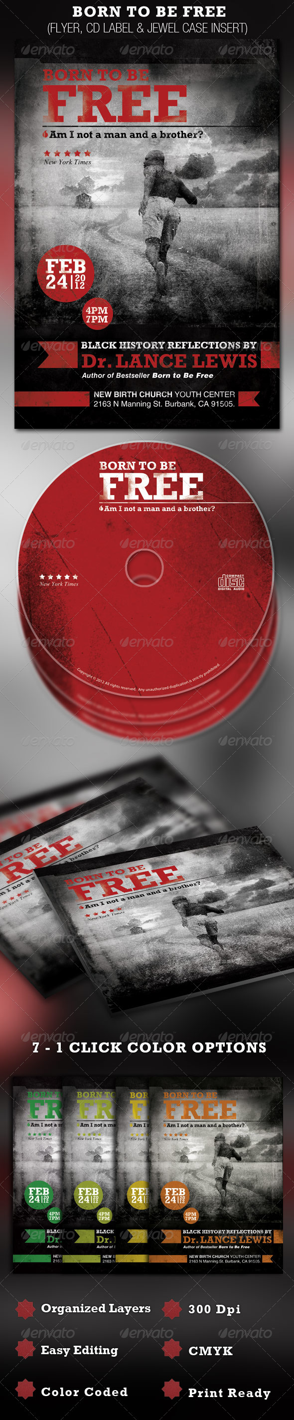 GraphicRiver Born to be Free Black History Flyer and CD 1583299