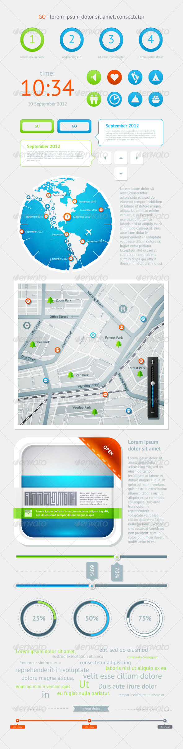 GraphicRiver Elements of Infographics with Buttons and Menus 1584381
