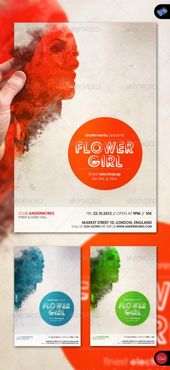 GraphicRiver Music Flyer Vol.5 Flower Girl 1585954