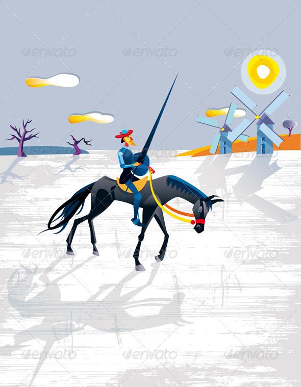 GraphicRiver Don Quixote And Windmills 1586808