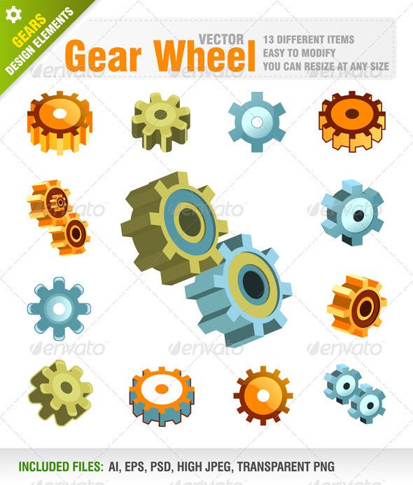 GraphicRiver Machine Gear Wheel Symbols 1586975