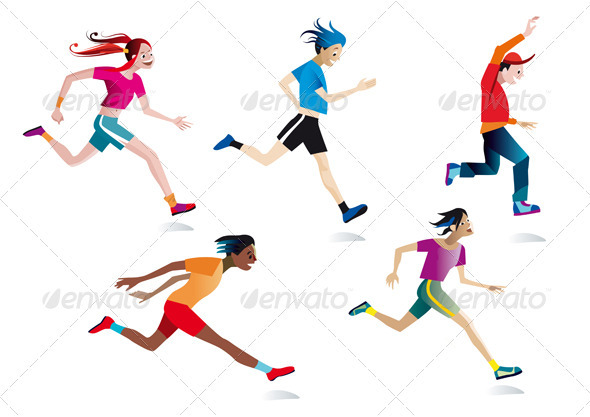 GraphicRiver Set Boys And Girls Running 1587252